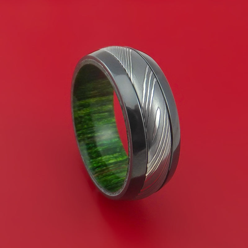 Damascus Steel Ring with  Inlay and Interior Hardwood Sleeve Custom Made Band