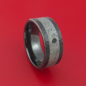Black Zirconium Ring with Gibeon Meteorite Inlay and Diamond Custom Made Band