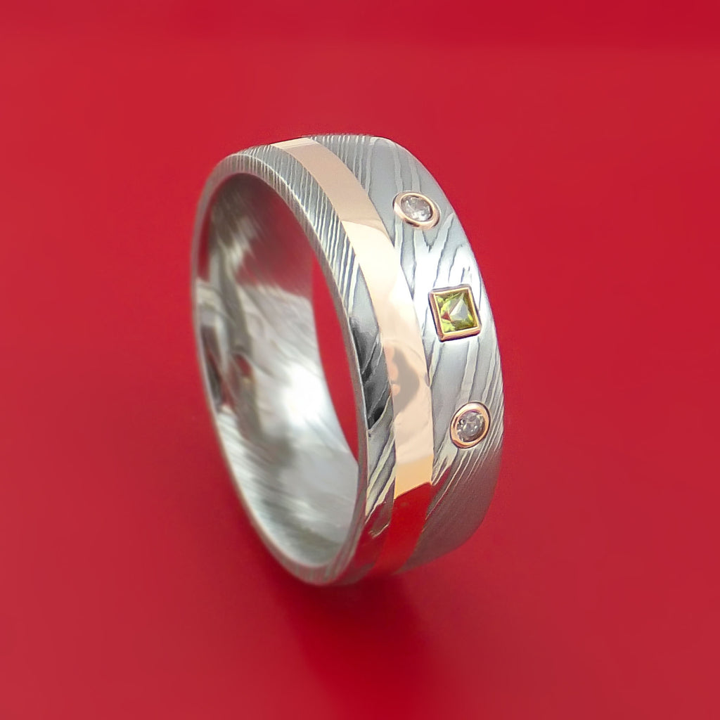 Damascus Steel Ring with Rose Gold Diamond and Peridot Stone Custom Made Band
