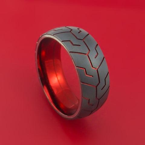 Black Zirconium Anodized Tire Tread Ring Custom Made Band