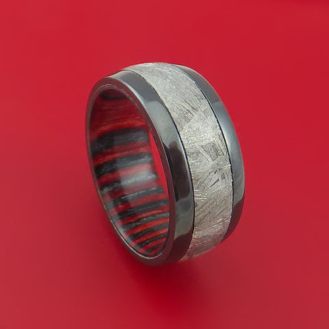 Black Zirconium Ring with Gibeon Meteorite and Applejack Wood Sleeve Custom Made Band