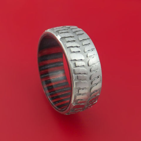 titanium mud tread tire ring with applejack hard wood sleeve custom made - Mud Tire Wedding Rings