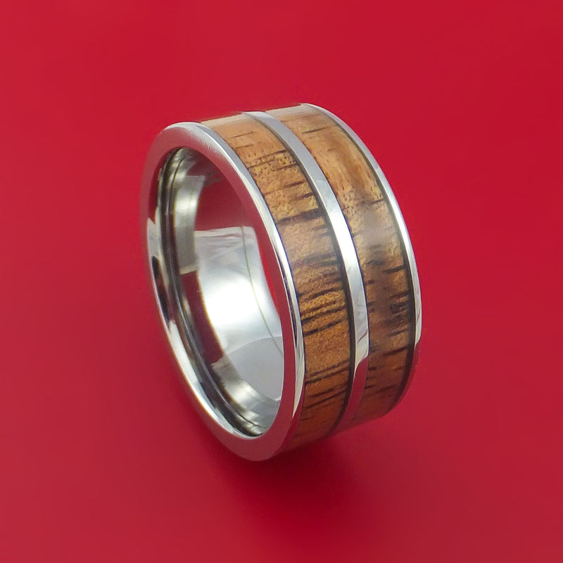 Wide Titanium Ring with Hardwood Inlay Custom Made Band