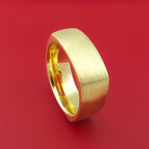 14K Yellow Gold Square Ring Custom Made Wedding Band