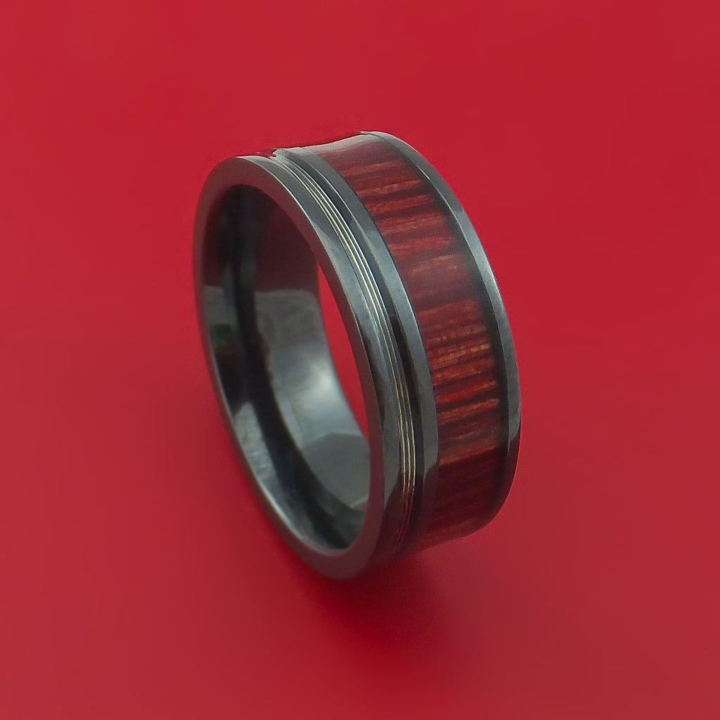 Black Zirconium Ring with Guitar String and Red Heart Wood Inlays Custom Made Band