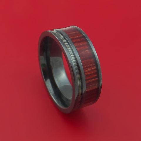 Black Zirconium Ring with Guitar String and Bahama Cherry Wood Inlays Custom Made Band