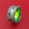 Wide Damascus Steel Ring with Interior Anodized Titanium Sleeve Custom Made Band