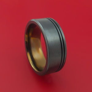 Black Zirconium Ring with Groove Inlay and Interior Anodized Sleeve Custom Made Band