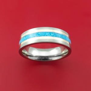 Titanium and Turquoise Ring with 14k Yellow Gold Custom Made Band