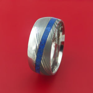 Damascus Steel Ring with Angled Lapis Inlay Custom Made Band