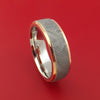 Cobalt Chrome Ring with Gibeon Meteorite Inlay and 14k Rose Gold Edges Custom Made Band