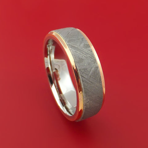 Cobalt Chrome and Gibeon Meteorite Ring with 14k Rose Gold Custom Made Band