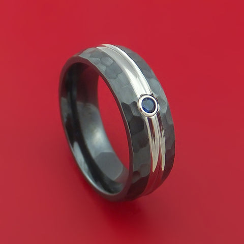 Black Zirconium Ring with Sapphire and Hammer Finish Custom Made Band