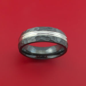 Black Zirconium Ring with Hammer Finish Custom Made Band