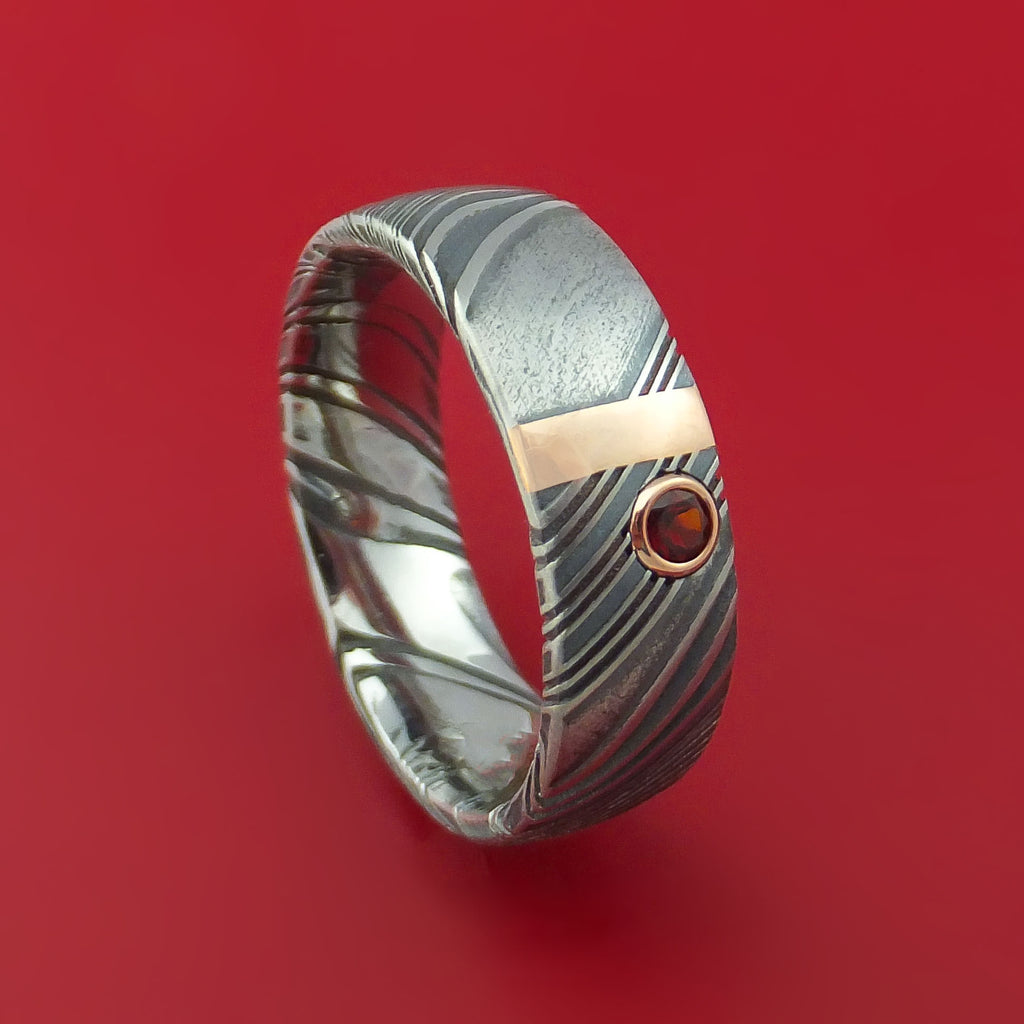 Kuro Damascus Steel with 14K Rose Gold and Garnet Custom Made Band