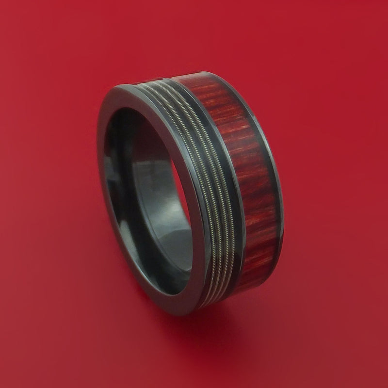Black Zirconium Ring with Hardwood and Nickel-Wound Guitar String Inlays Custom Made Band