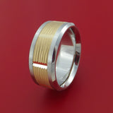 Cobalt Chrome and 14k Yellow Gold Band Texture Pattern Custom Made Ring