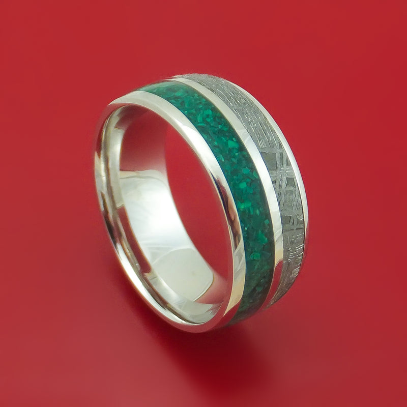 14K White Gold Meteorite and Malachite Ring Custom Made