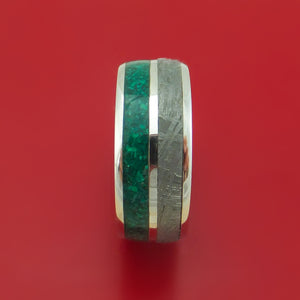14k White Gold Ring with Malachite and Gibeon Meteorite Inlays Custom Made Band