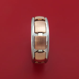 Cobalt Chrome and 14k Rose Gold Band Spinner Custom Made Ring
