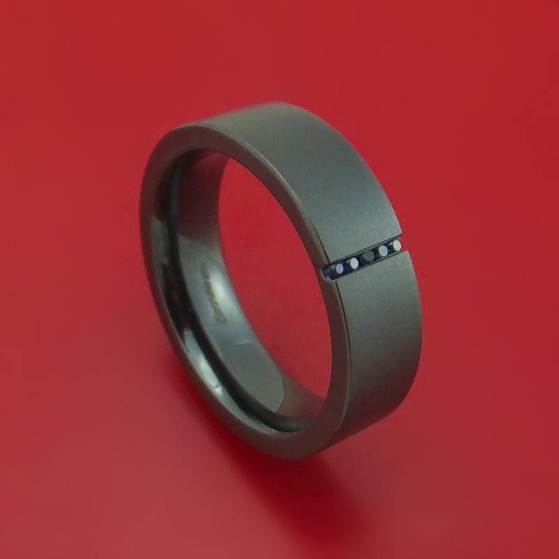 Black Zirconium and Sapphire Ring Custom Made