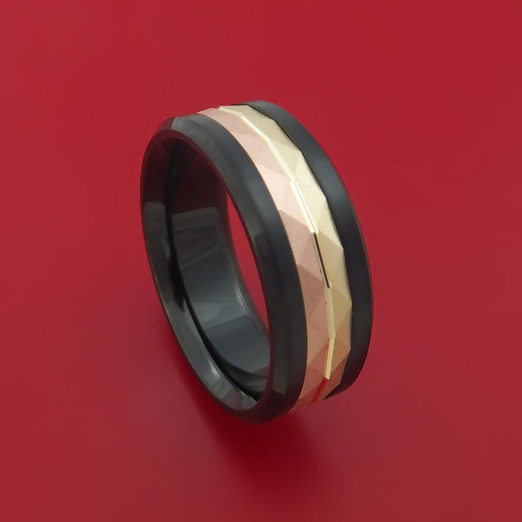 Black Cobalt and 14k Yellow and Rose Gold Inlay Custom Made Band