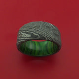 Damascus Steel Rock Hammer Ring with Jade Wood Sleeve Custom Made