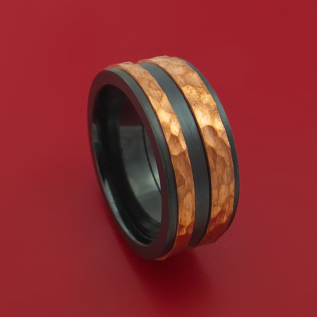 Black Zirconium Ring with Raised Hammered Copper Inlays Custom Made Band