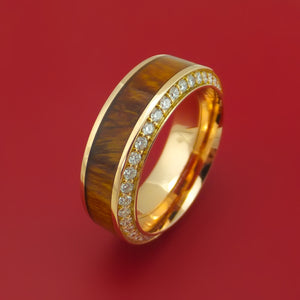 18K Rose Gold Ring With Hardwood Inlay And Eternity Set Diamonds Custom Made Band