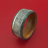 Hammered Black Zirconium Ring with Gibeon Meteorite and Platinum Inlays and Interior Hardwood Sleeve Custom Made Band