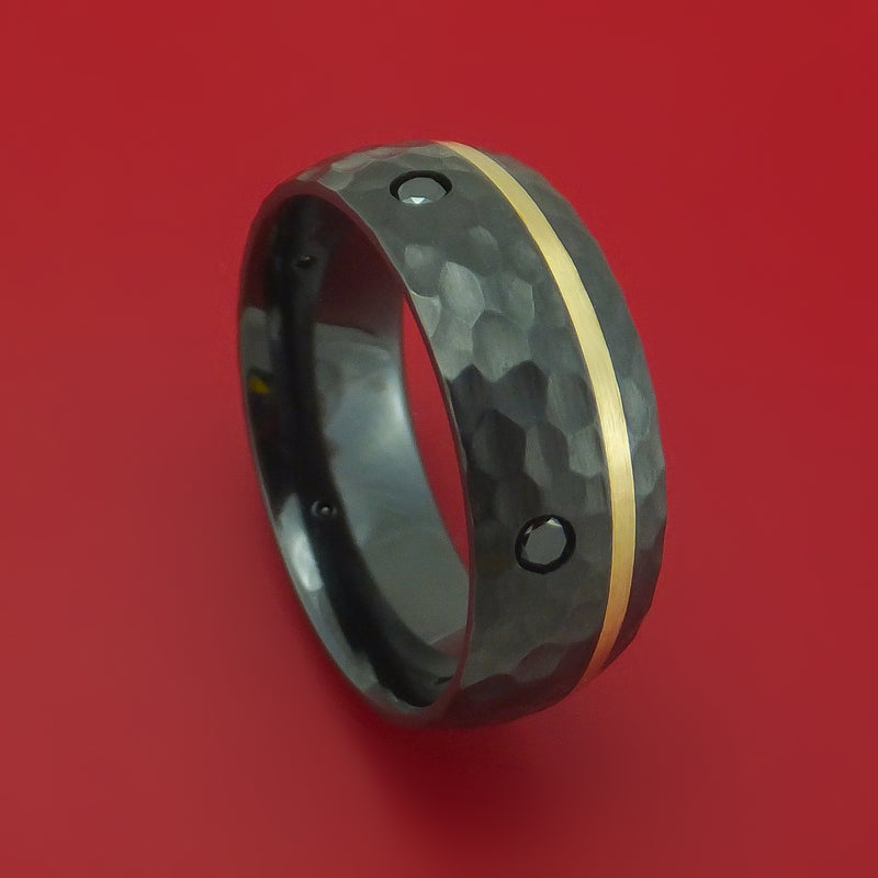 Black Zirconium and Gold Ring with Black Diamonds Custom Made