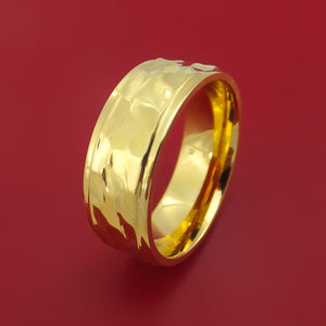 Hammered 14K Yellow Gold Classic Style Wedding Band Custom Made
