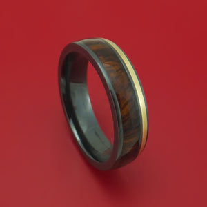 Black Zirconium Ring with 14k Yellow Gold and Hardwood Inlays Custom Made Band