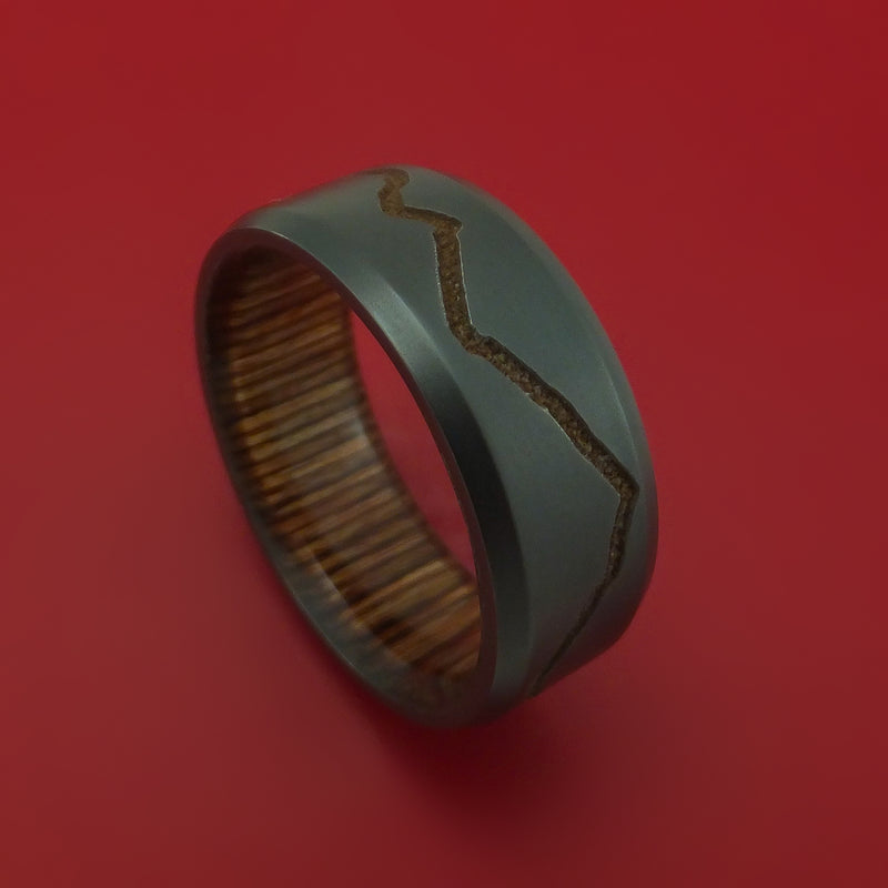 Black Zirconium Ring With Custom Mountain Milling And Hardwood Interior Sleeve Custom Made