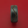 Black Zirconium Ring with Gold-Toned Milled Mountain Range Design Inlay and Interior Hardwood Sleeve Custom Made Band
