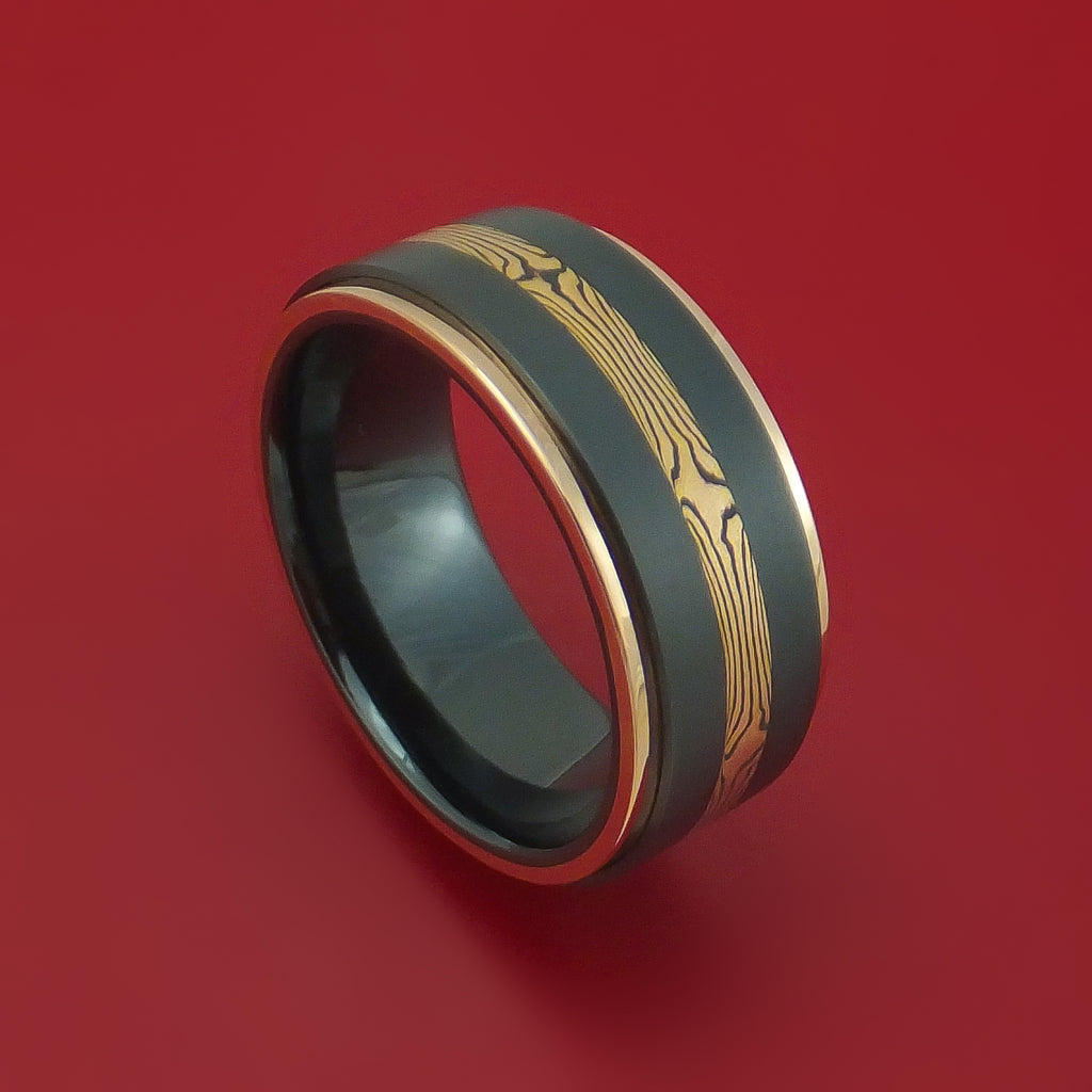 Black Zirconium and Mokume Ring with Gold Edges Custom Made Band