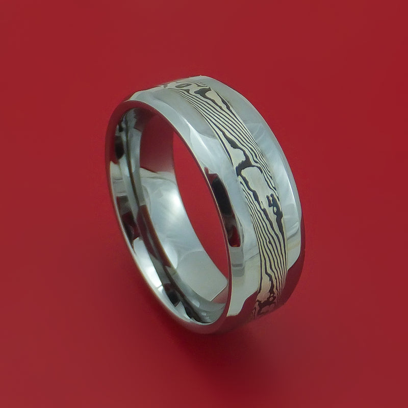 Tungsten Ring with Mokume Inlay Custom Made Band