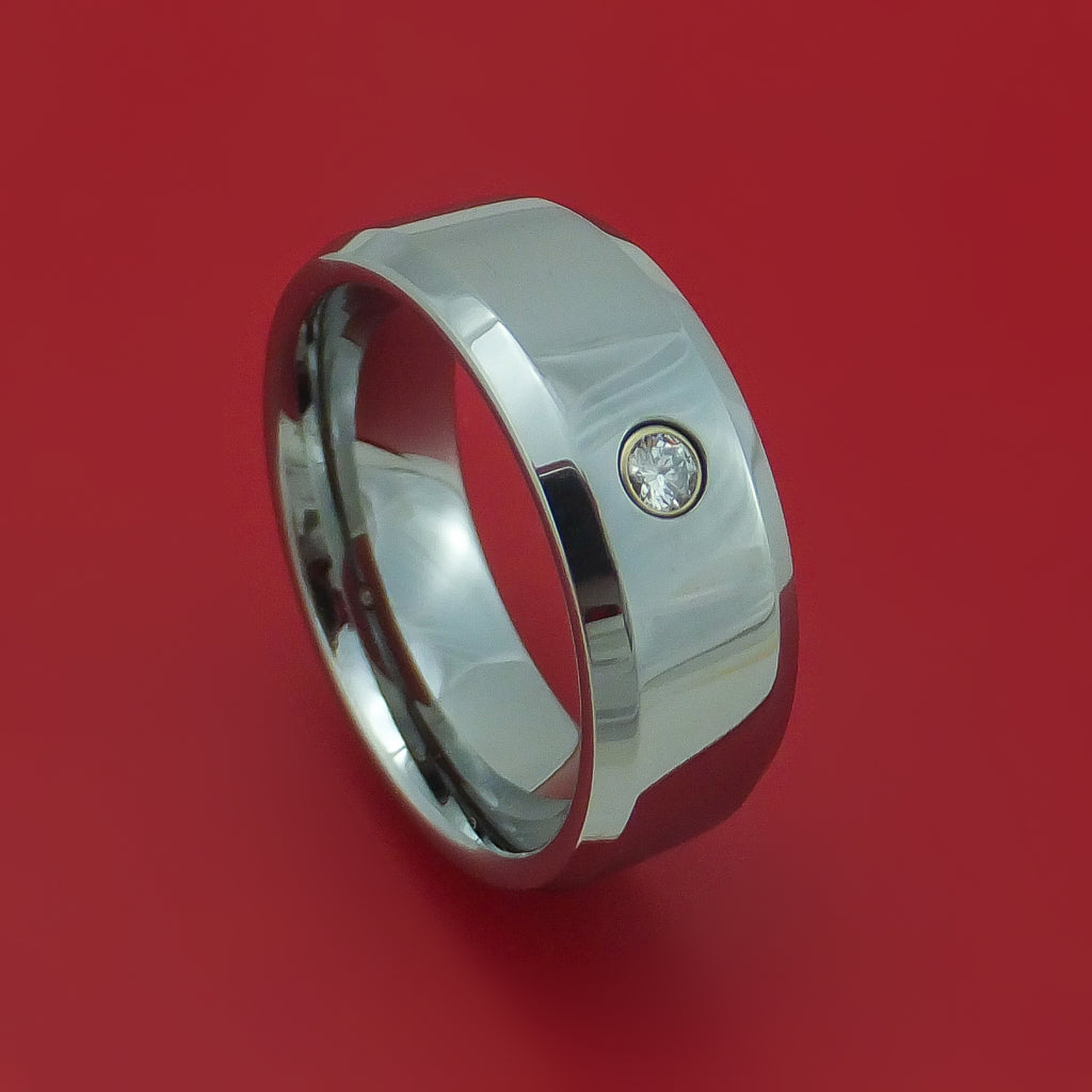 Tungsten Band with Diamond Custom Made Ring