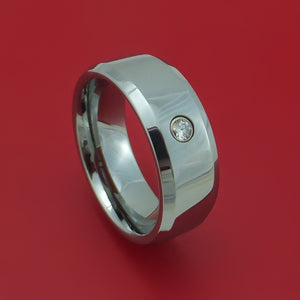 Tungsten Ring with Diamond Custom Made Band