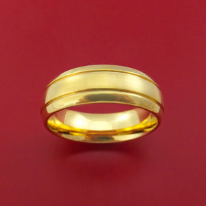 14k Yellow Gold Ring with Groove Inlay Custom Made Band