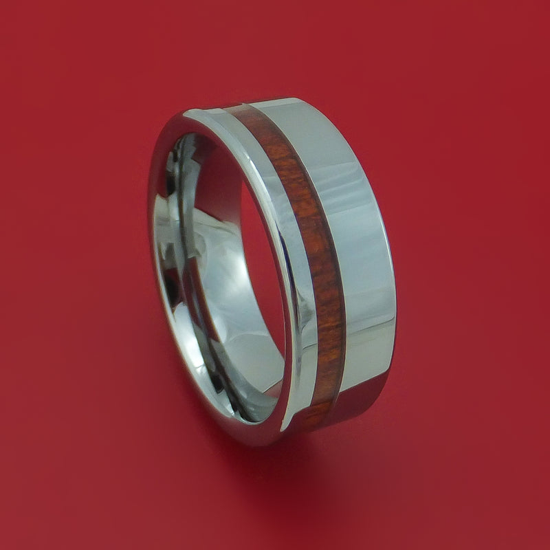 Tungsten Ring with Blood Wood Inlay Custom Made Band