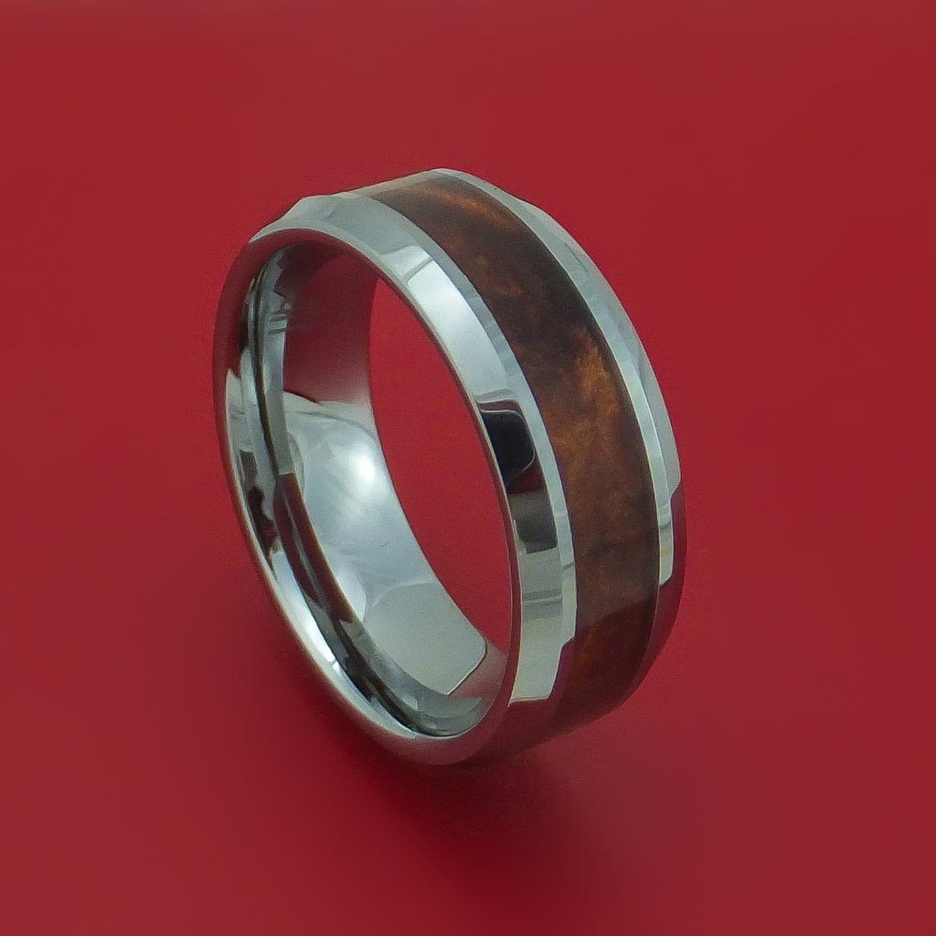Tungsten Ring with Desert Ironwood Burl Wood Inlay Custom Made Band