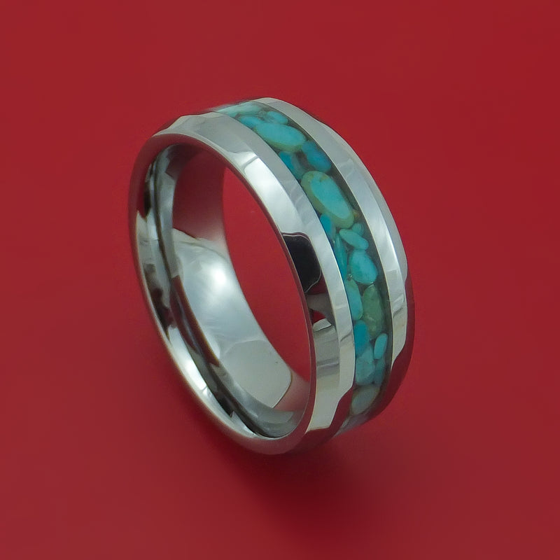 Tungsten Ring with Turquoise Inlay Custom Made Band