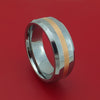 Tungsten Ring with Rose Gold Inlay Custom Made Band