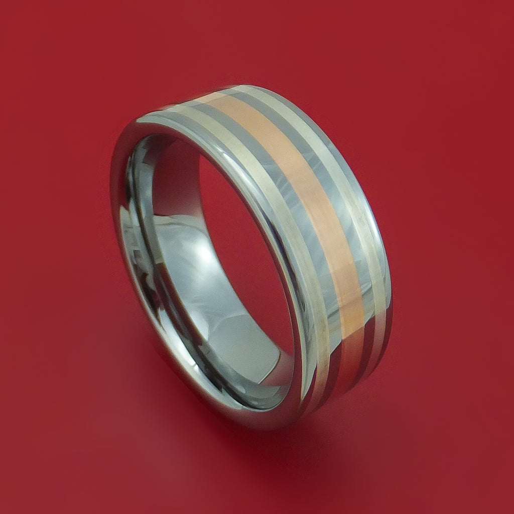 Tungsten Ring with Rose Gold and Silver Custom Made Band