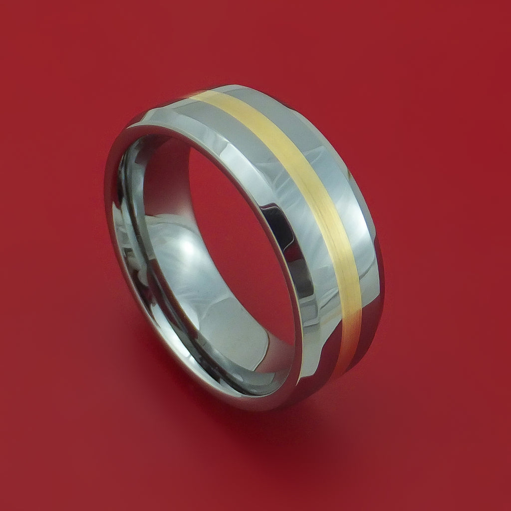 Tungsten Ring with Yellow Gold Inlay Custom Made Band