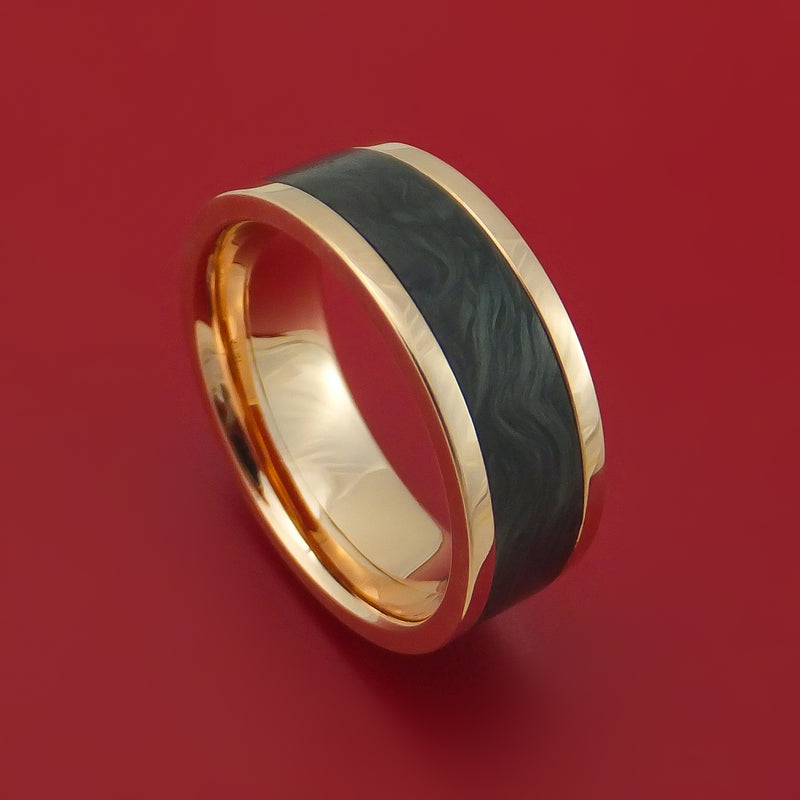 14k Rose Gold Ring with Forged Carbon Fiber Inlay Custom Made Band