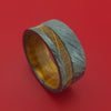 Wide Black Zirconium Ring with Hardwood Inlay and Interior Hardwood Sleeve Custom Made Band