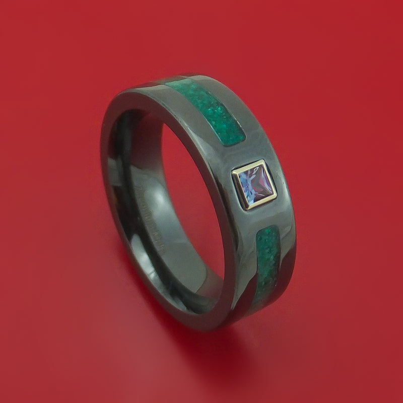 Black Zirconium and Alexandrite Ring with Malachite Inlay Custom Made