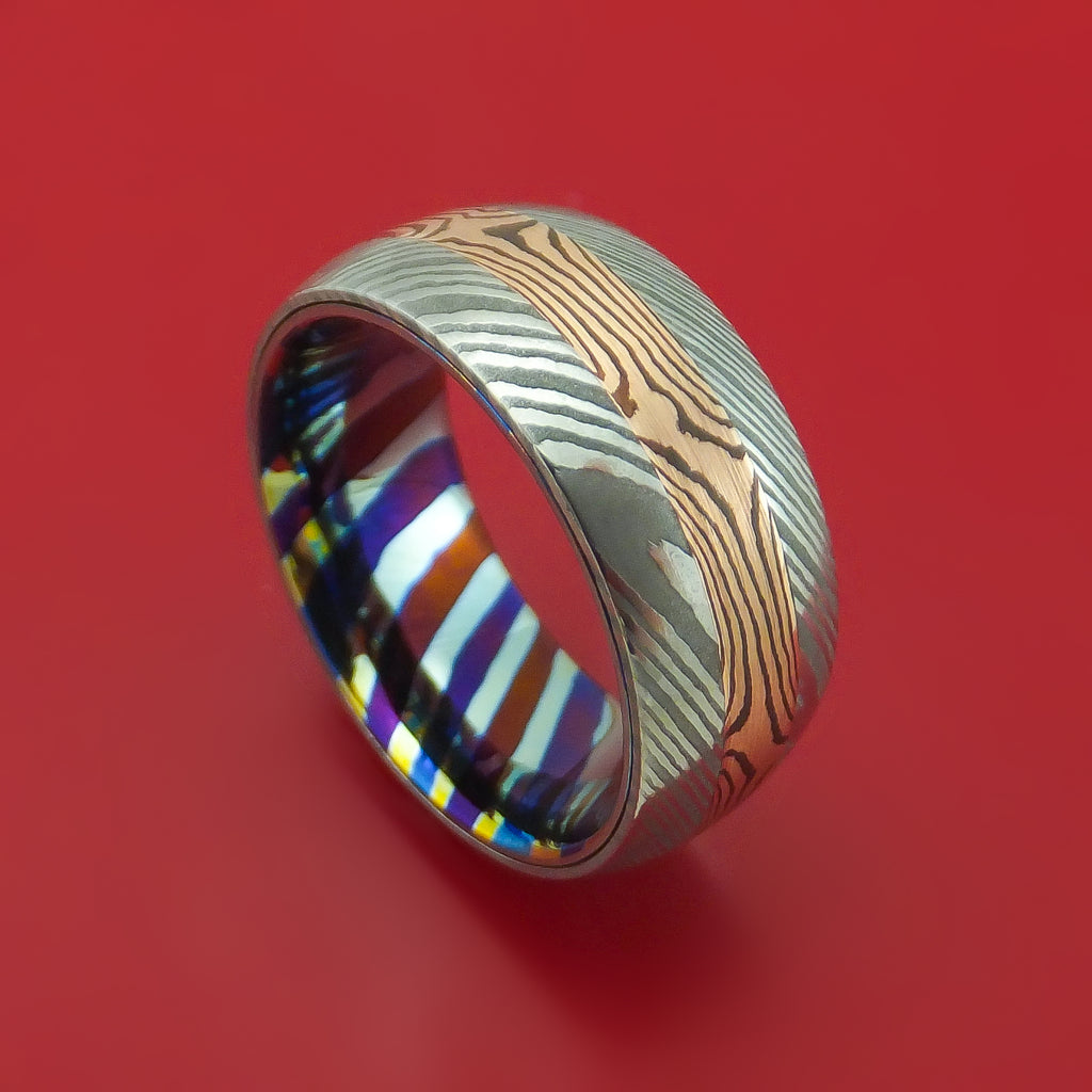 Damascus Steel with Mokume Gane and Timascus Custom Made Ring